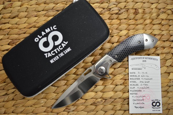 Olamic Cutlery Wayfarer Compact Flipper, Dark Blue C-TEK, Ti Damascus Floating Back Spacer (SOLD)