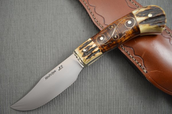 Jay Hendrickson, M.S. Clip Point Hunter, Curly Maple Silver Wire Inlay, Stag (SOLD)
