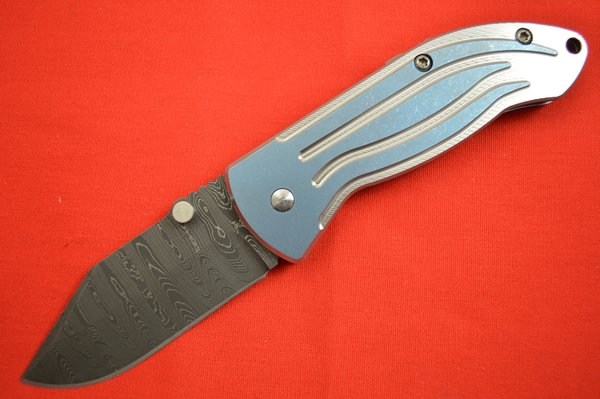 Jim Burke Damascus Rockstar #02, Frame-Lock Folding Knife