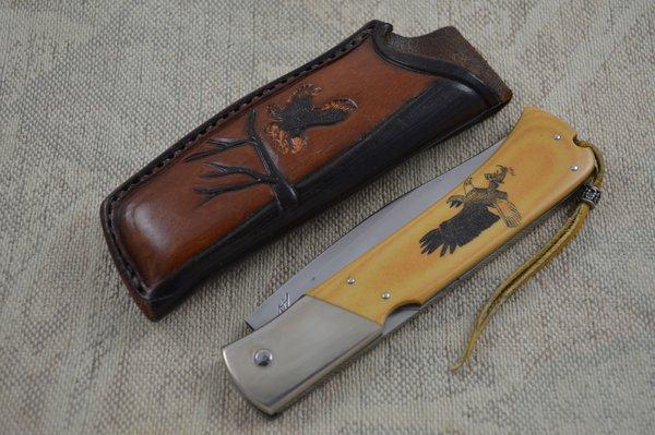 Wayne Valachovic Master Smith Large Scrimshawed Lock Back Folding Hunter (SOLD)