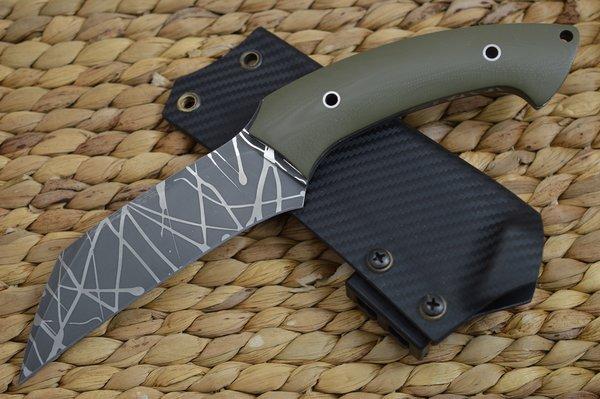 """Rick Barrett """"Skulltap"""" Hawkbill Fixed Blade Knife, OD Green, Kydex Sheath Tek-Lok"""