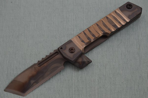 Crusader Forge STREET FIGHTER Flipper, Custom Sculpted and Polished Titanium Frame-Lock, Chisel Ground Tanto (SOLD)