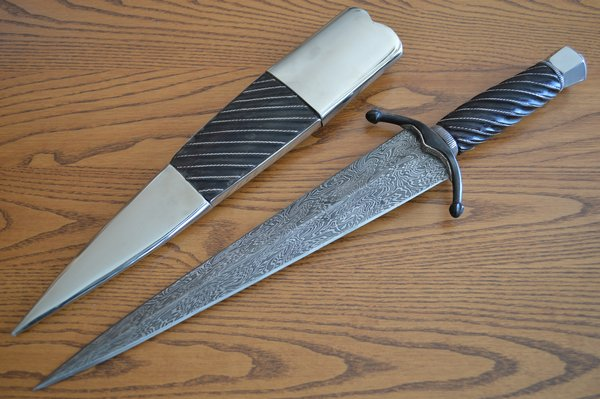 Gary Mulkey Damascus Quillon Dagger, African Blackwood, Silver Wire Inlay (SOLD)