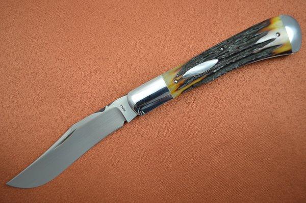 Bill Ruple Stag Trapper, Slip Joint Folding Knife, Bolstered, File-Work