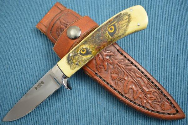Dennis Bradley Drop Point Hunter, Scrimshawed Wolf Eyes, Tooled Leather Sheath (SOLD)