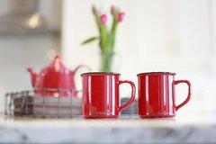 Enamel Look Mug - Red Coffee/Cappuccino