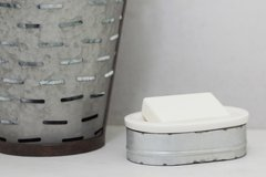 Metal and Stoneware Soap Dish