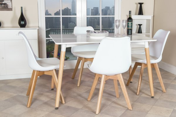 set of four retro 70s style white padded kitchen dining chairs - Kitchen Dining Chairs