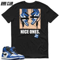 "RETRO 1 OG WHITE/ ROYAL BLUE ""NICE ONES"" SHIRT"
