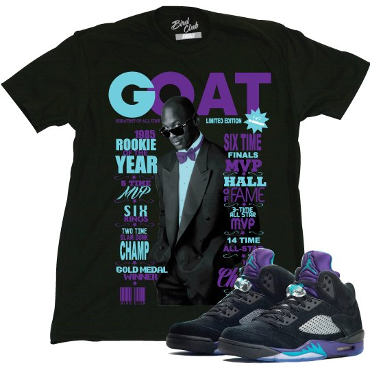 AIR JORDAN 5 BLACK GRAPES TEE