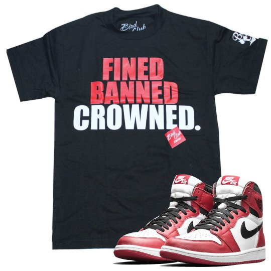 OG JORDAN 1'S colorway Red/White/Black CROWNED TEE TO MATCH