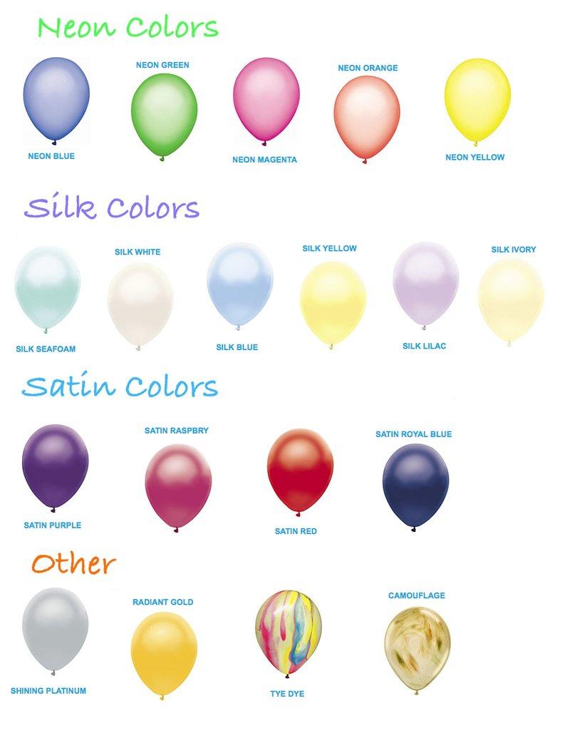 Partymate Colored Balloons Neon Silk Satin More Balloon Bag