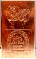 Half Pound Eagle Flag 99.9% Pure Copper Bullion Bar