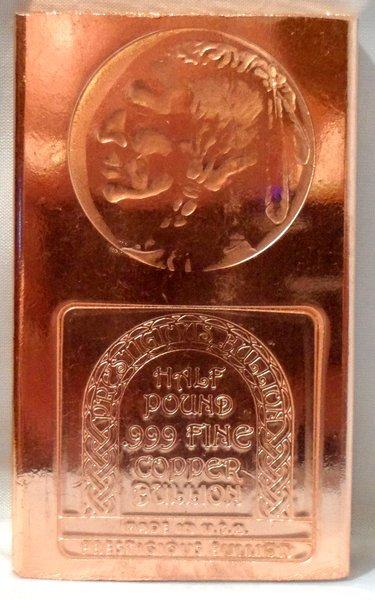 Half Pound Indian Head 99.9% Pure Copper Bullion Bar