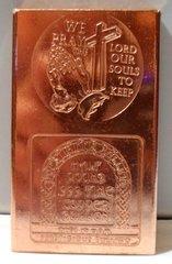 Half Pound Praying Hands Christ 99.9% Pure Copper Bullion Bar