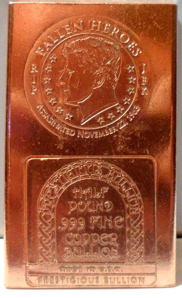 Half Pound JFK 99.9% Pure Copper Bullion Bar
