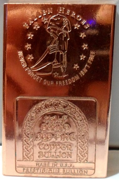 Half Pound Military Fallen Heros 99.9% Pure Copper Bullion Bar
