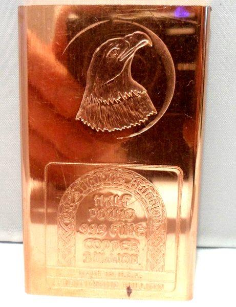 Half Pound Eagle Head 99.9% Pure Copper Bullion Bar