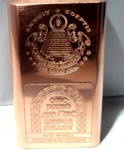 1 Pound Masonic 99.9% Pure Copper Bullion Bar