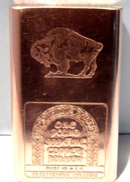 1 Pound Buffalo 99.9% Pure Copper Bullion Bar
