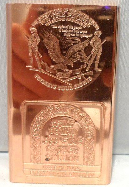 Half Pound 2nd Amendment 99.9% Pure Copper Bullion Bar