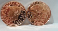 1OZ John F Kennedy .999 Fine Copper Bullion Round