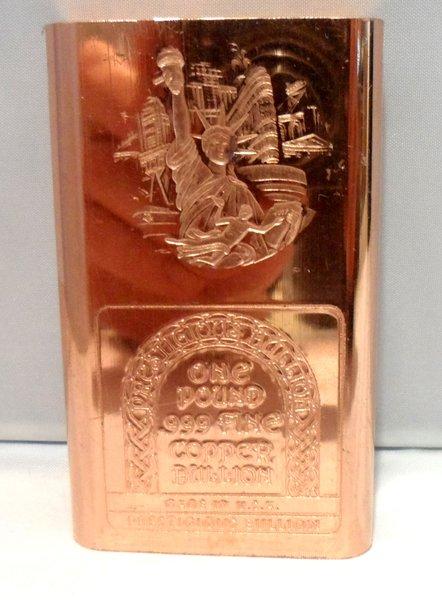 1 Pound New Yorker 99.9% Pure Copper Bullion Bar