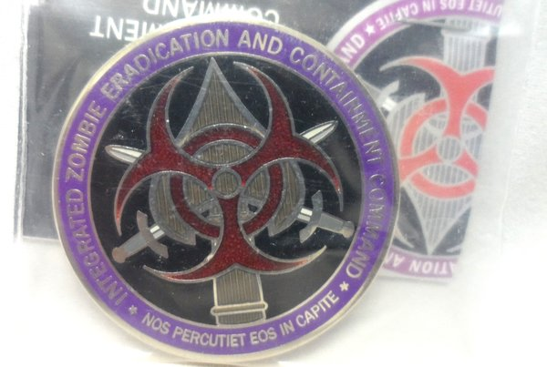 "Intergrated Zombie ""Contract Zombie Licensed Hunter"" Nickel Enamel 44MM Coin"