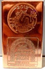 Half Pound 2012 Year Of The Dragon 99.9% Pure Copper Bullion Bar