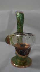 Praying Hands Christ Standing Sherlock .999 Copper Infused Art Glass Pipe