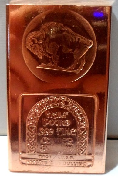 Half Pound Buffalo 99.9% Pure Copper Bullion Bar