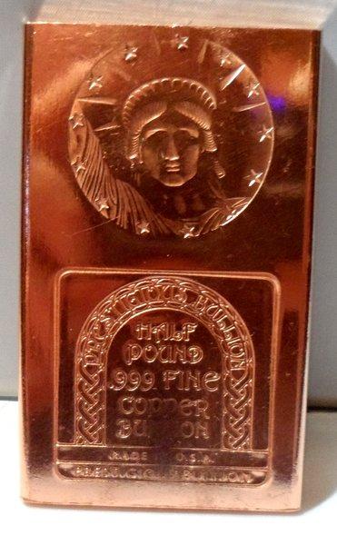 Half Pound Statue of Liberty 99.9% Pure Copper Bullion Bar
