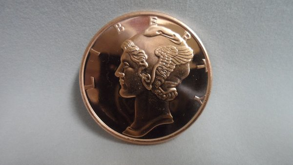 1 Ounce Mercury Dime 99.9% Pure Copper Bullion Round