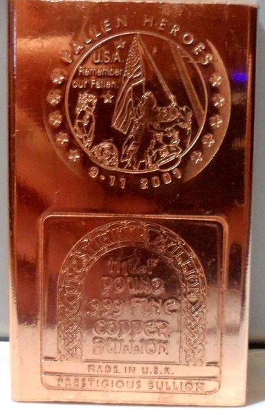 Half Pound Fallen Heros 911 Tribute 99.9% Pure Copper Bullion Bar