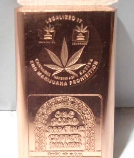 1 Pound LegalizeD It 99.9% Pure Copper Bullion Bar