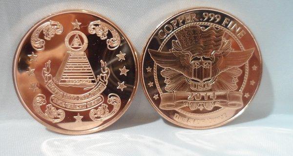 1OZ Masonic .999 Fine Copper Bullion Round