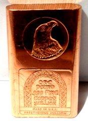 1 Pound Eagle Head 99.9% Pure Copper Bullion Bar