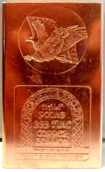 Half Pound Eagle Flag 99.9% Pure Copper Bullion Bar