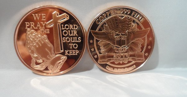 1OZ Praying Hands .999 Fine Copper Bullion Round