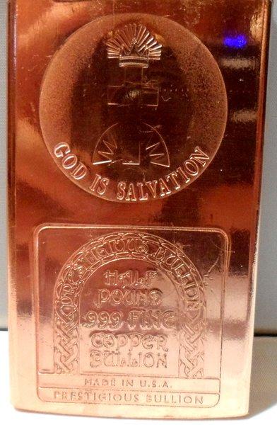 Half Pound God Is Salvation 99.9% Pure Copper Bullion Bar