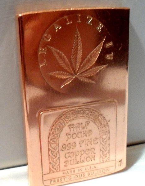 Cannabis Clones Series 8 oz. Marijuana Legalize It .999 Copper Bullion Art bar Ingot