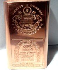 1 Pound Masonic 99.9% Pure Copper Bullion Bar