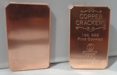 Two X 1OZ (2OZ) Copper Cracker 99.9% Pure Copper Bullion Art Bar Ingot