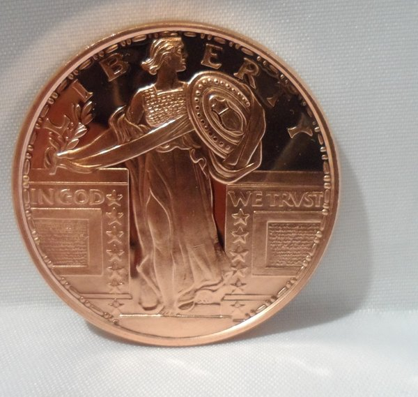 1 Ounce Standing Liberty .999 Fine Copper Bullion Round