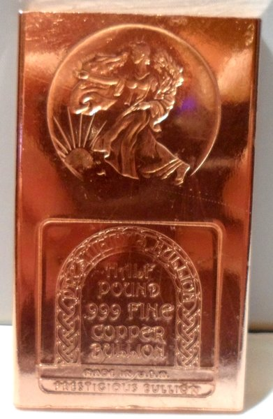 Half Pound Walking Liberty 99.9% Pure Copper Bullion Bar