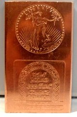 Half Pound Saint Gaudens 99.9% Pure Copper Bullion Bar