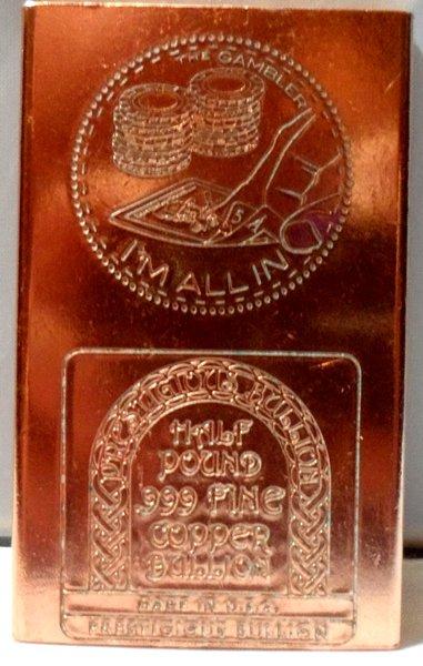 Half Pound Gambler 99.9% Pure Copper Bullion Bar
