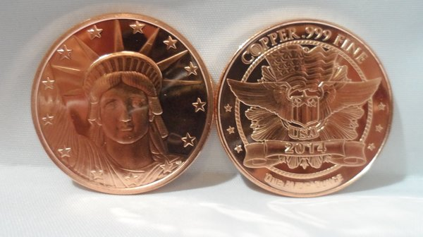 1OZ Statue Of Liberty .999 Fine Copper Bullion Round