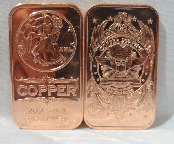 1OZ Walking Liberty Ingot .999 Fine Copper Bullion Art Bar