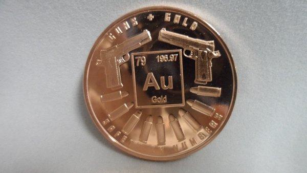 1 Ounce Guns n Gold 99.9% Pure Copper Bullion Round